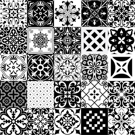 Big set of tiles in portuguese, spanish, italian style. For wallpaper, backgrounds, decoration for your design, ceramic, page fill and more. Vektorgrafik