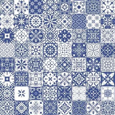Big set of tiles in portuguese, spanish, italian style. For wallpaper, backgrounds, decoration for your design, ceramic, page fill and more.