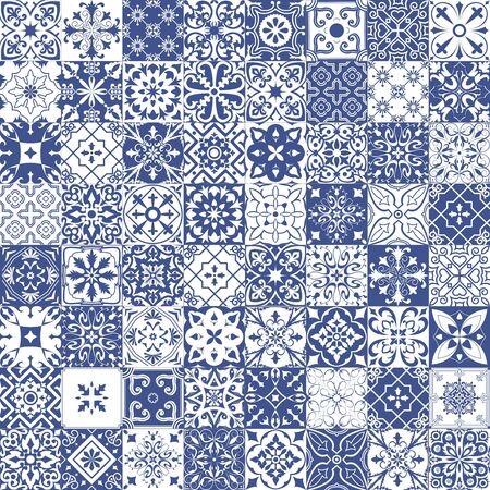 Grand ensemble de carreaux de style portugais, espagnol, italien. Pour le papier peint, les arrière-plans, la décoration de votre design, la céramique, le remplissage de page et plus encore.