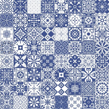 Set of tiles background in portuguese style. Mosaic pattern for ceramic in dutch, portuguese, spanish, italian style.