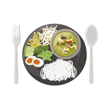 curry rice: Thai food vector illustration cartoon Illustration