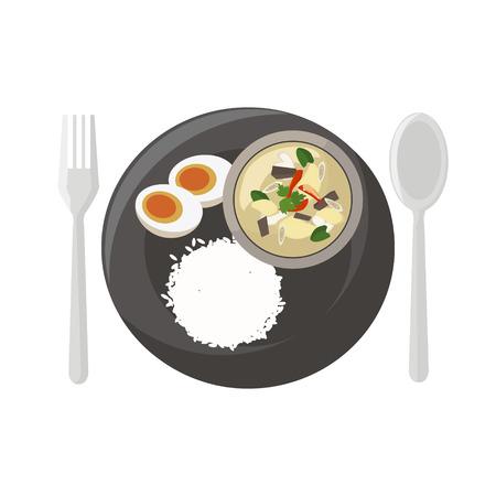 タイ料理ベクトル イラスト漫画