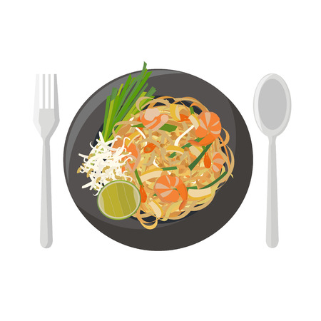 Thai food vector illustration cartoon Çizim