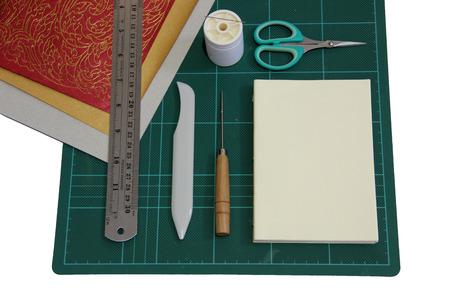 book binding: Hard cover book binding materials Stock Photo