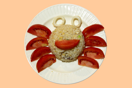 plating: Fancy fried rice in crab shape Stock Photo