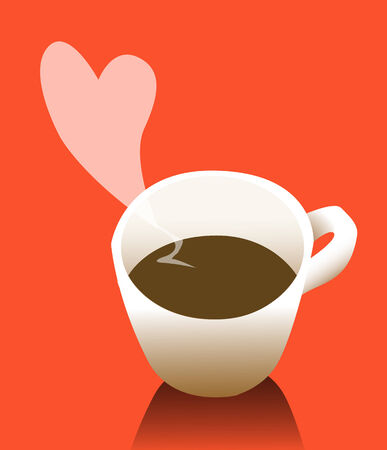 steamy: Steamy romantic cup of coffee Illustration