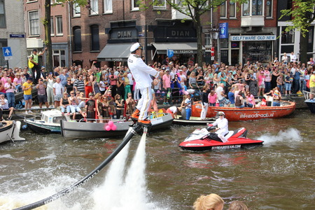 canal parade: Amsterdam gay pride canal parade