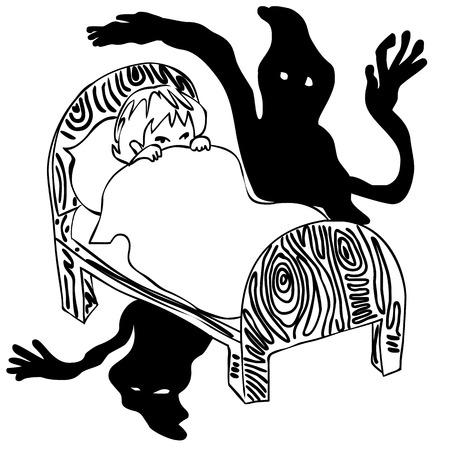 afraid: kid afraid in the dark, having nightmares, seeing ghosts - monochrome