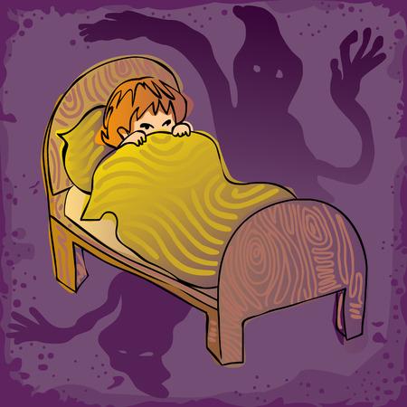 kid afraid in the dark, having nightmares, seeing ghosts Illusztráció