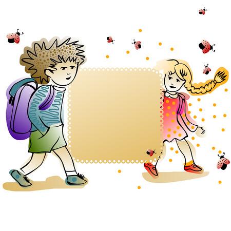 schoolkids: label framed with cheerful schoolkids