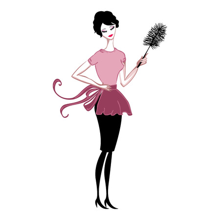 carino pulire la polvere in un grembiule pink lady
