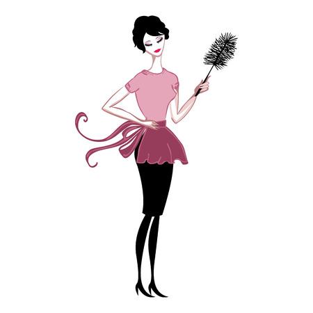 jeune fille: cute lady nettoyage de la poussi�re dans un tablier rose Illustration