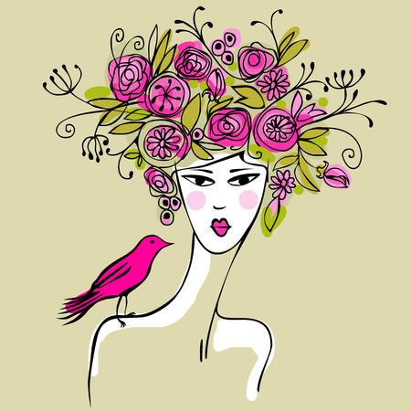 aves caricatura: mujer muy joven con el pelo lleno de flores y un pájaro de color rosa en el hombro Vectores