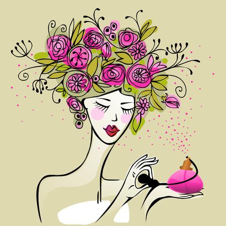 csinos, fiatal nő haját tele virágokkal permetezés parfüm Illusztráció