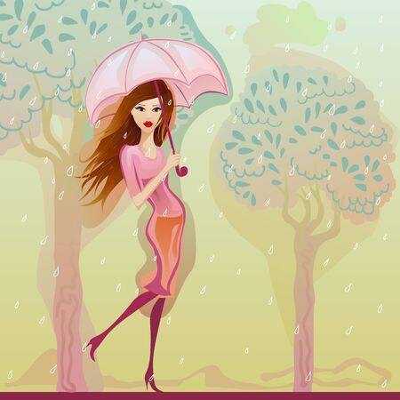 girl in rain: pretty girl walking in the rain with a pink umbrella Illustration
