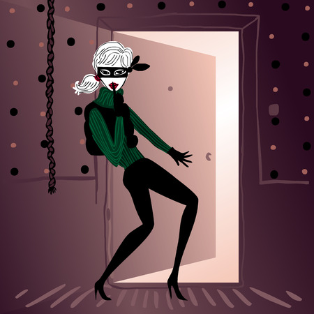 femme: pretty masked secret agent lady sneaking in a door Illustration