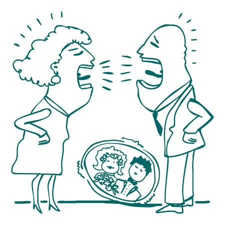 pareja discutiendo: dibujo de una lucha pareja casada