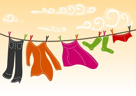 clothes hanging: colorful clothes hanging and drying Illustration