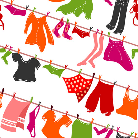 seamless image of colorful clothes drying Illustration