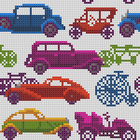 oldtimer: seamless illustration of colorful x-stitch textured old-timer cars and bicycles in traffic Illustration