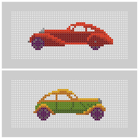 oldtimer: couple of colorful x-stitch textured old-timer car illustrations