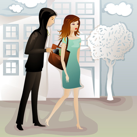 young woman being robbed by a pickpocket on the street Illustration