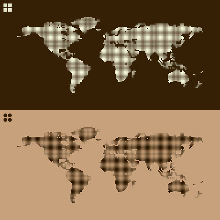 Couple of textured world map illustration one dots one squares couple of textured world map illustration one dots one squares stock vector 38972877 gumiabroncs Image collections