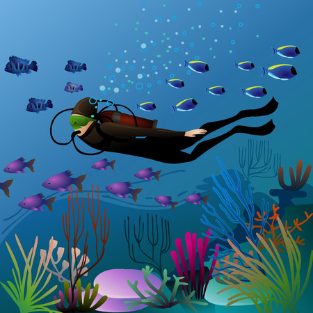 eps10: swimming diver in pretty underwater environment - eps10