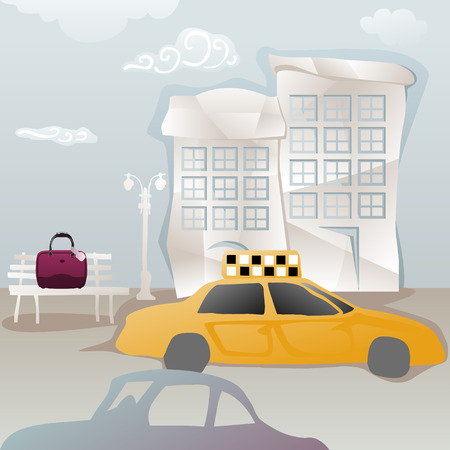 capricious: travelbag forgotten on a bench while taxi is leaving Illustration