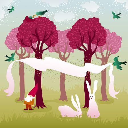美しい森のピンクの木、入れ子との愛の鳥、イースターのウサギと庭 gnome のカップルの飛行風景
