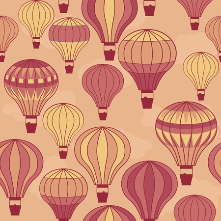 high spirits: seamless image of colorful hot air balloons floating in the sky