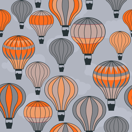 air sport: seamless image of colorful hot air balloons floating in the sky