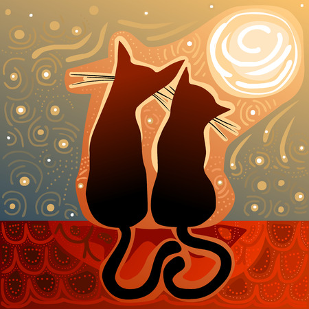 cat silhouette: affectionate cats in love on a roof in the moonlight surrounded by stary sky