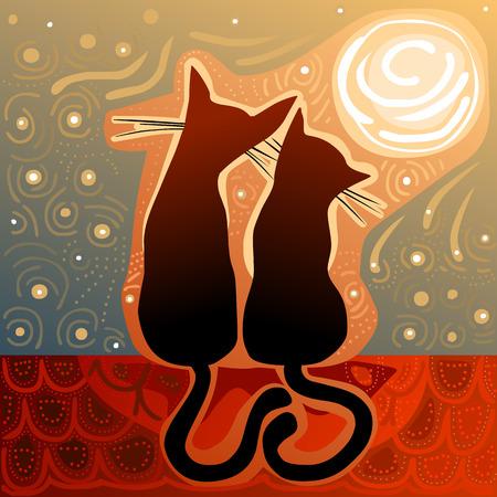 gato caricatura: gatos cari�osos en el amor en una azotea en la luz de la luna rodeada de cielo stary Vectores