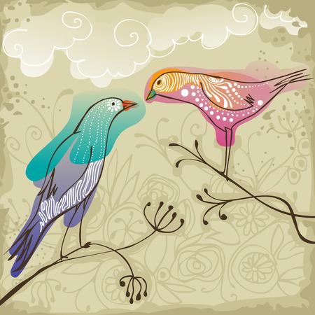 arbol pájaros: hermosos pájaros del amor que se sientan en la rama y mirando el uno al otro