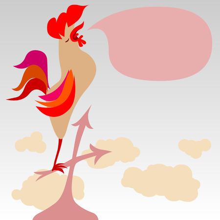 animal cock: gallo che canta su un tetto - con copyspace per il testo