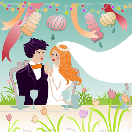 affectionate: wedding illustration of affectionate groom and bride at the festive table