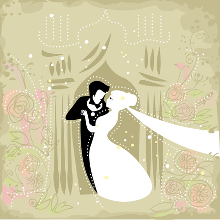 affectionate: wedding invitation illustration with affectionate groom and bride in a festive surrounding Illustration
