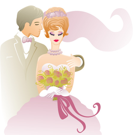 wedding illustration with affectionate groom and bride