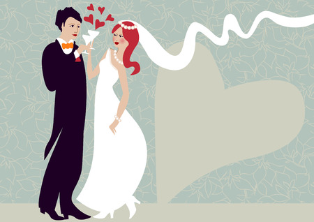 clinking: wedding illustration of groom and bride clinking Illustration