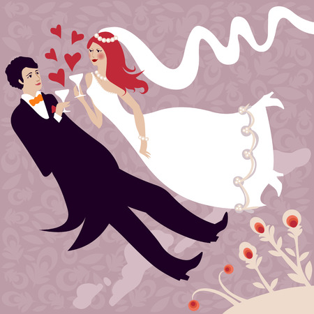 clinking: wedding illustration of groom and bride clinking and flying of joy Illustration