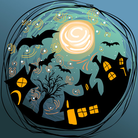 stary: doodle Halloween illustration with magical stary sky, moon, bats and hounted houses Illustration