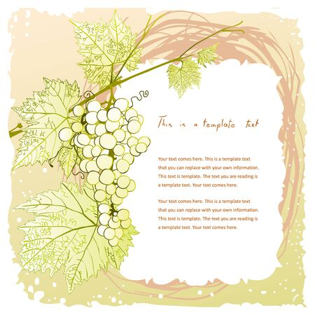 cluster: doodle vintage frame with grape cluster on a leafy branch and copyspace for your text