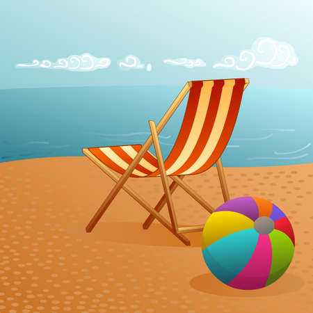 deckchair: pretty summer landscape with deckchair and beach ball by the water