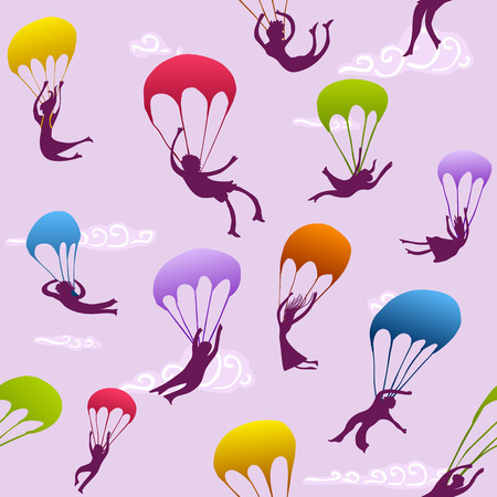parachutists: colorful seamless pattern with cheerful parachutists