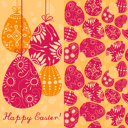 regeneration: pair of easter cards - one with greetings and hanging decoration and the other with seamless painted eggs Illustration