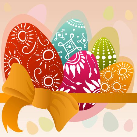 regeneration: easter card with colorful painted eggs and orange ribbon