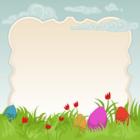 regeneration: easter card featuring colorful painted eggs on a beautiful flowery meadow with copyspace for your text