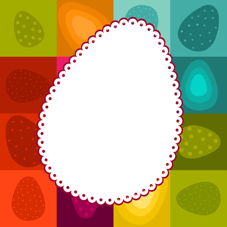 checked background: easter greeting with lacy egg-shaped label and checked background