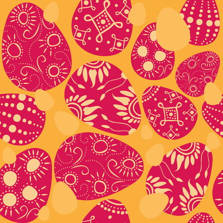 regeneration: seamless easter background with colorful decorated eggs Illustration